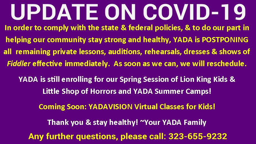 Coronavirus update from YADA