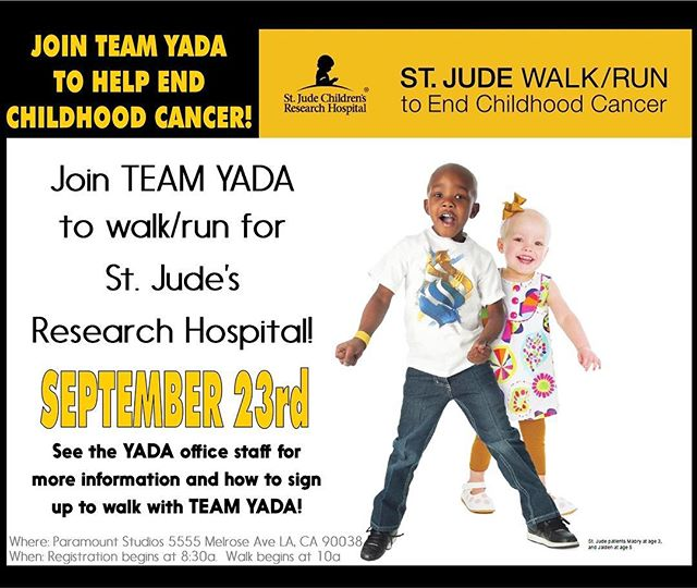 LET'S DO THIS #TeamYADA next Saturday we're going to walk/run to help end kids cancer. Register now under our team name, we have a team goal of $1k  #YADArocks #Yadafamily
