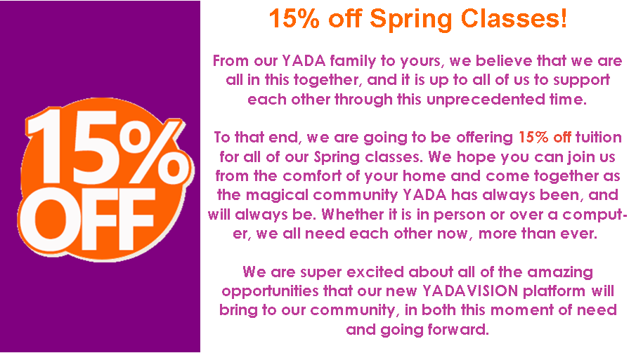 15% off YADA's Spring classes 2020
