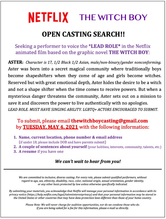 Netflix Casting Call The Witch Boy
