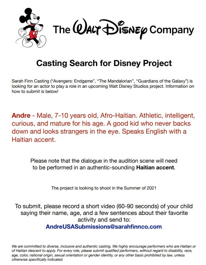 Walt Disney casting notice